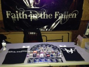 FITF Rocks Q Bar February 10th, Faith in the Fallen, Merch Table