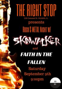 FITF Return to Stage, Faith in the Fallen, FITF, Skinwalker, The Right Stop, Gilman, Illinois